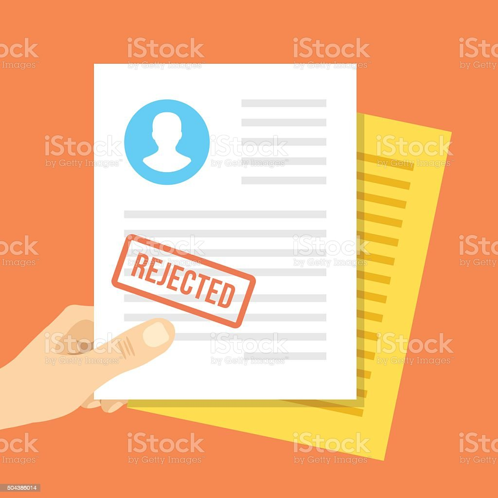 Job application rejected. Hand holds job application with rejection stamp vector art illustration