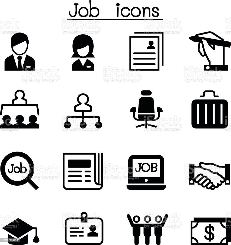 Vector Drawing Lines Job : Job employment icon set stock vector art istock