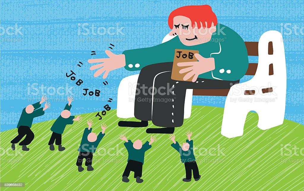 Job giver vector art illustration
