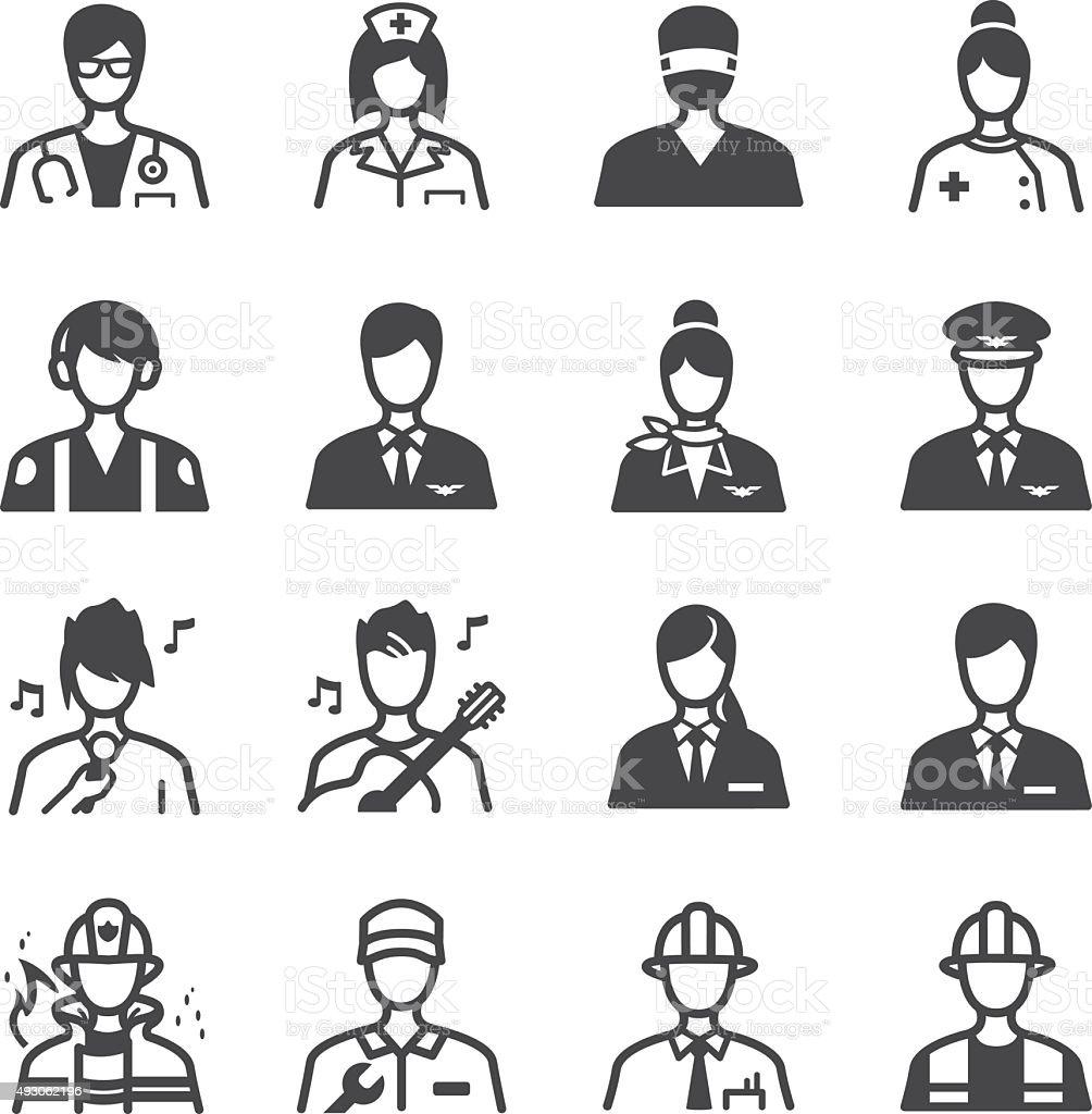 Job icons set vector art illustration