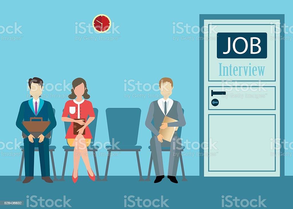 job interview conceptual. vector art illustration