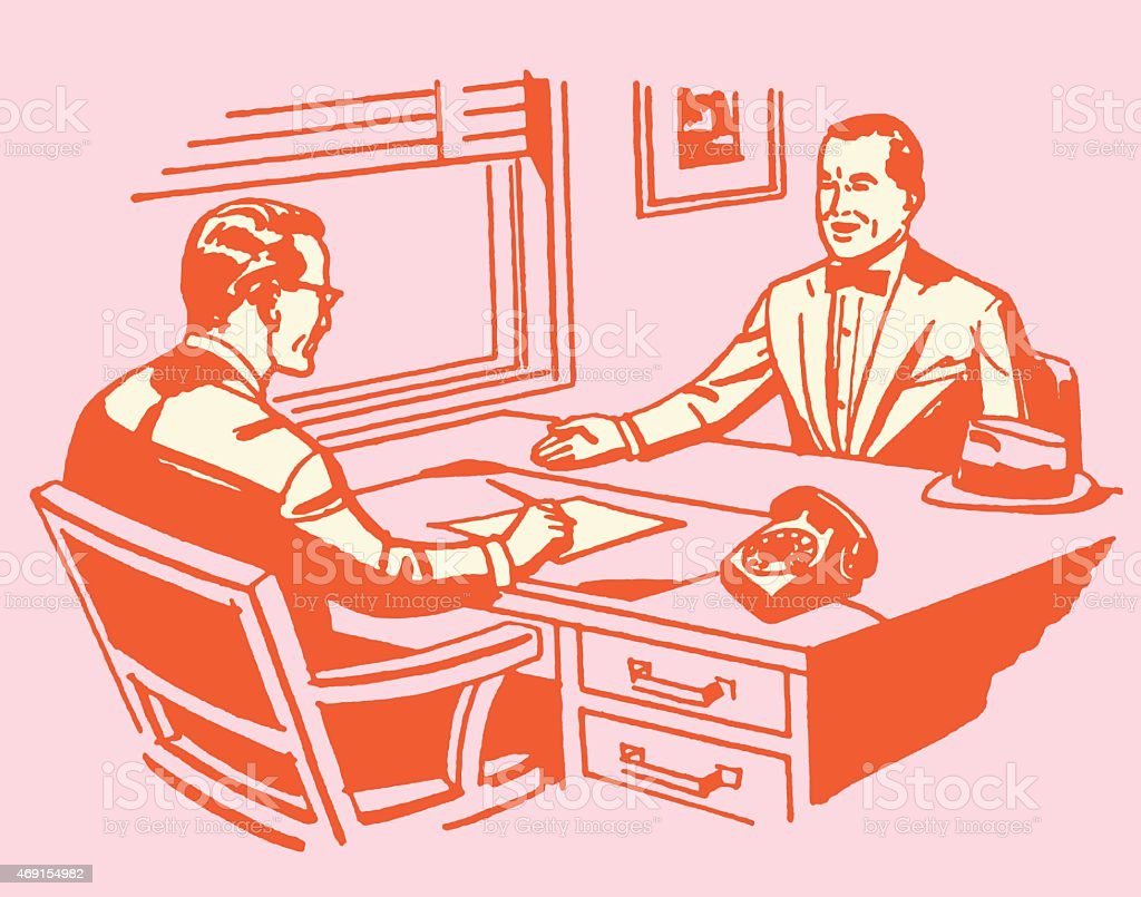 A job interview going on in a red and pink color tone vector art illustration