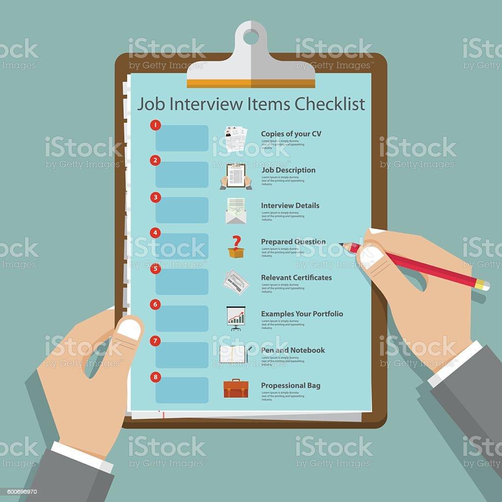 Job interview icons in flat design on clipboard. Vector Illustration vector art illustration
