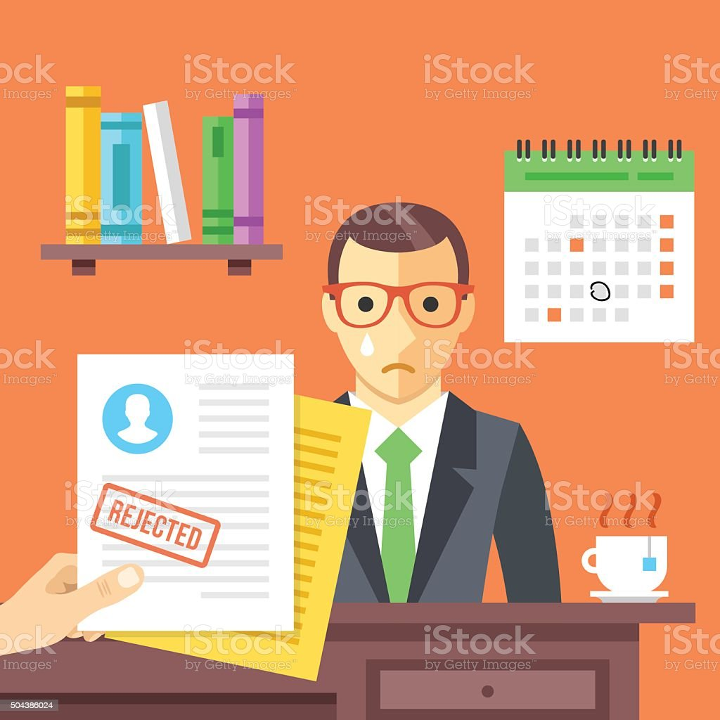 Job interview. Rejected job application with a stamp vector art illustration