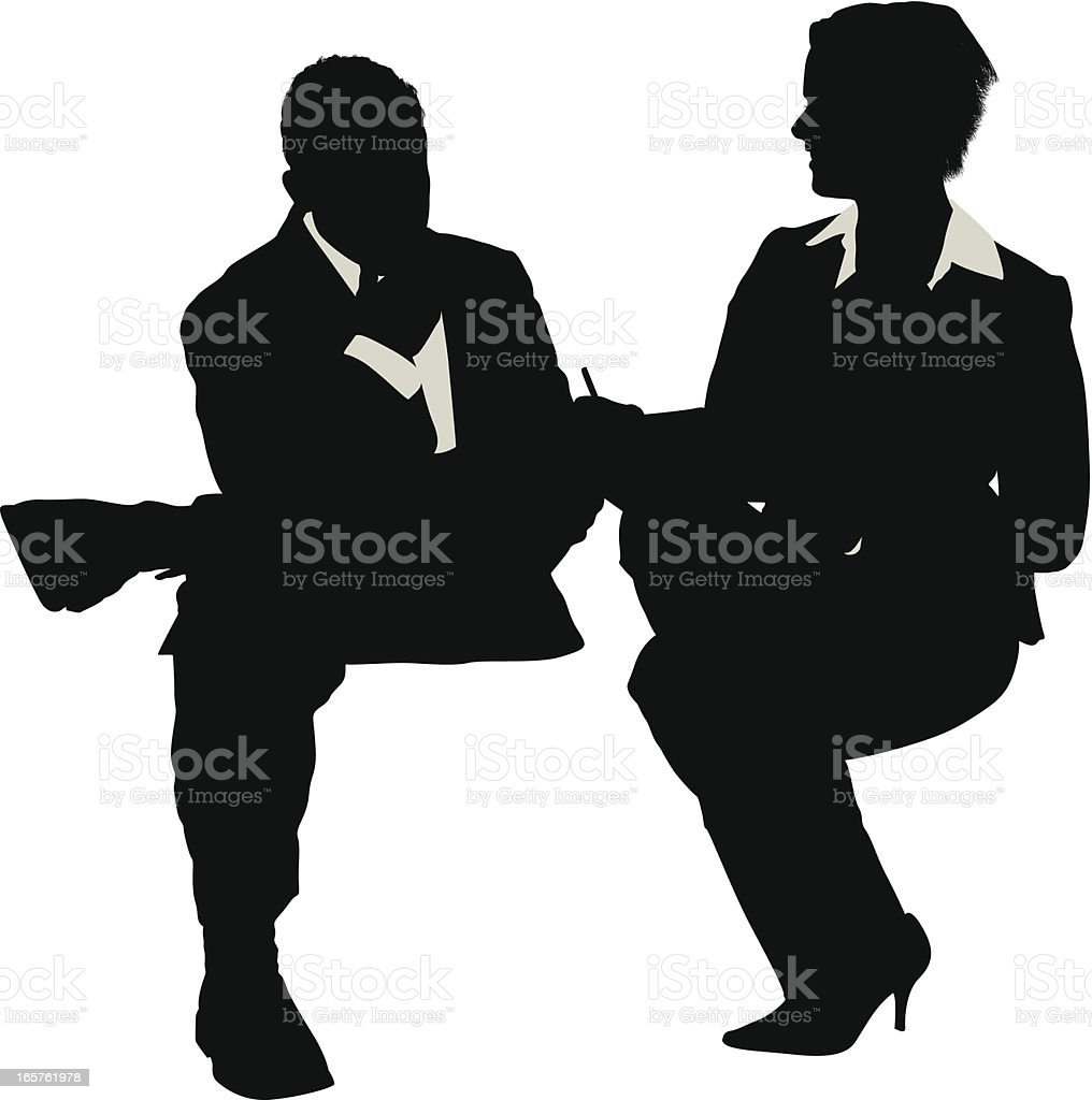 Job interview silhouette vector art illustration
