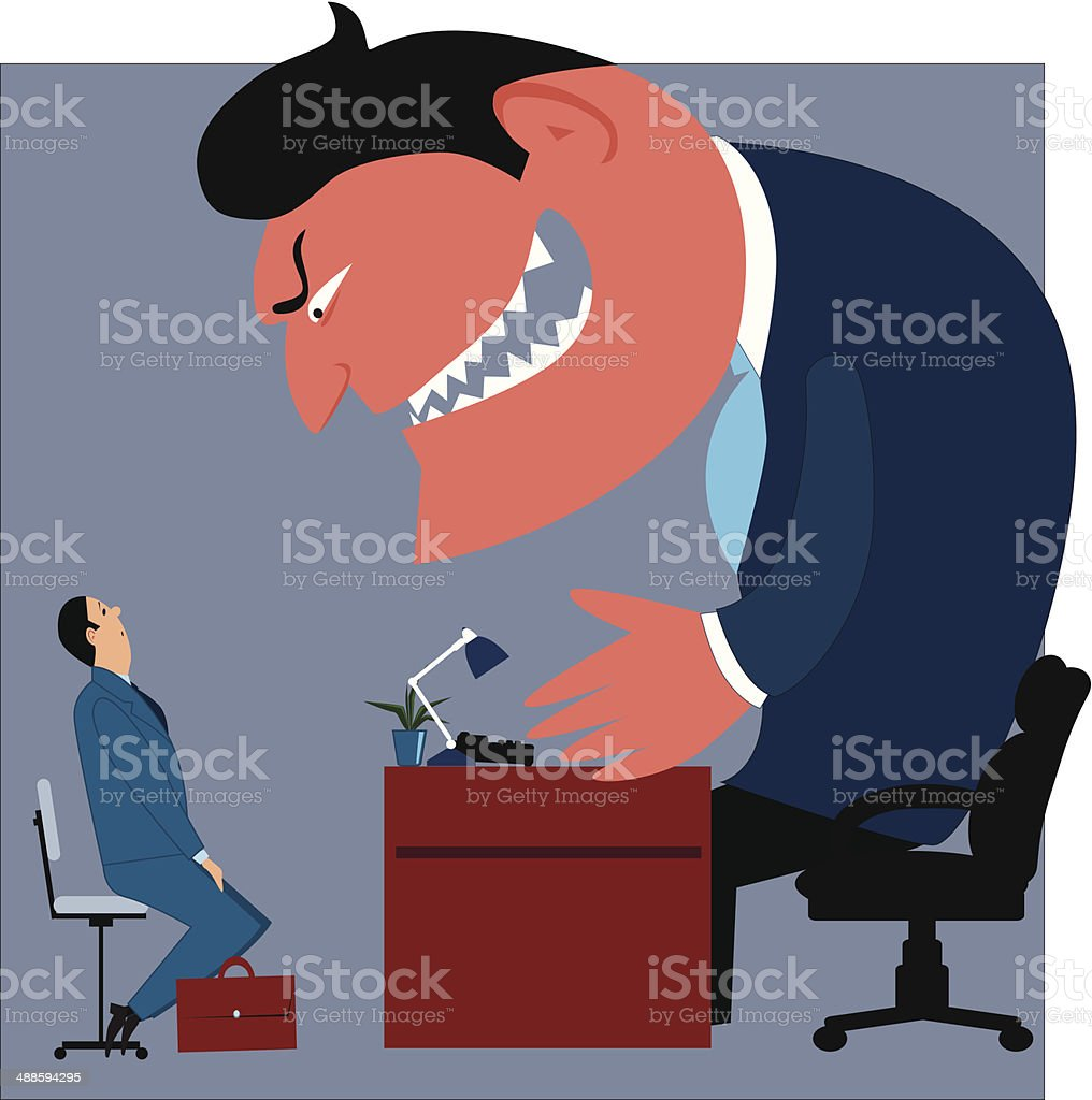 Job interview vector art illustration