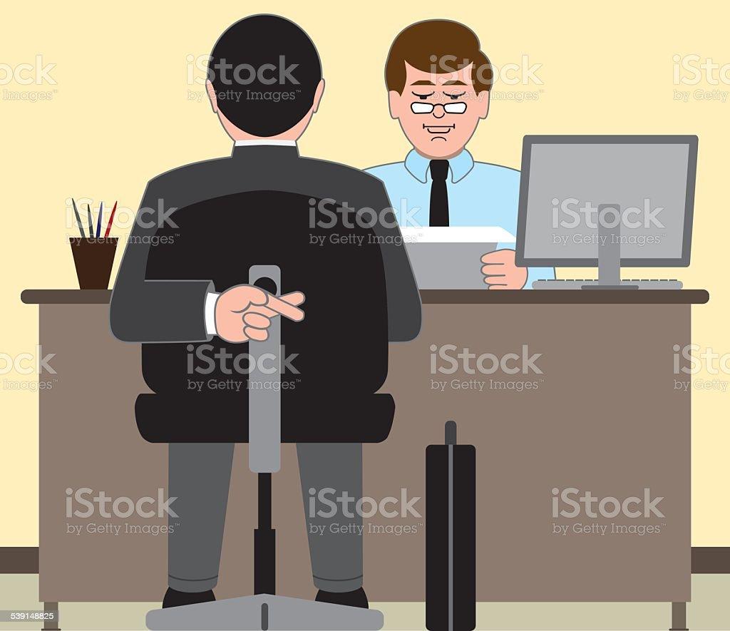 Job Interview vector art illustration