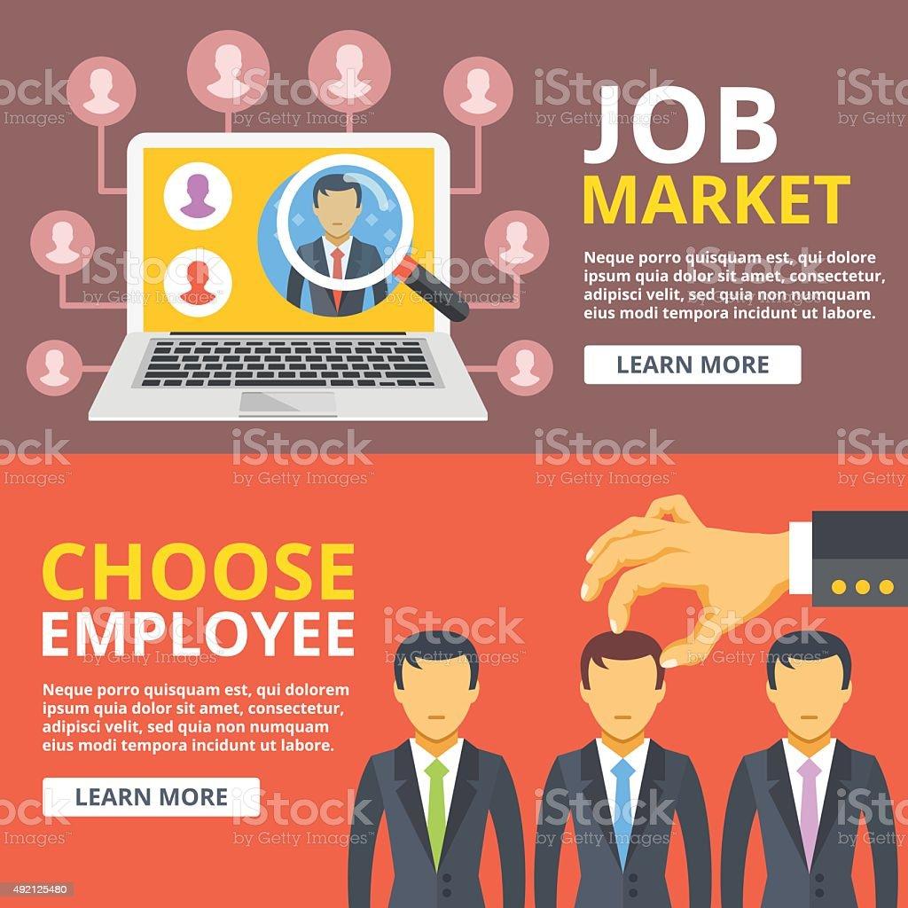 Job market, choose employee flat illustration set. Hand pick worker vector art illustration