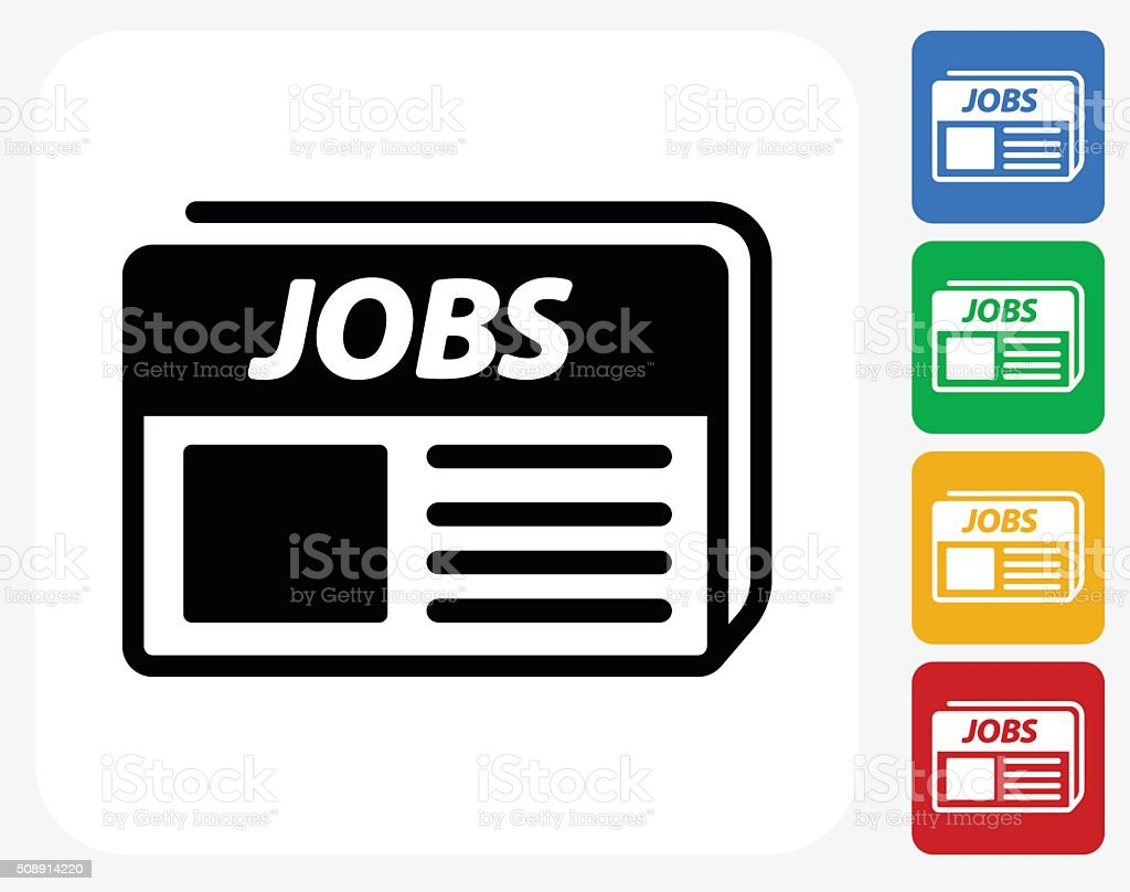 Job Newspaper Icon Flat Graphic Design vector art illustration
