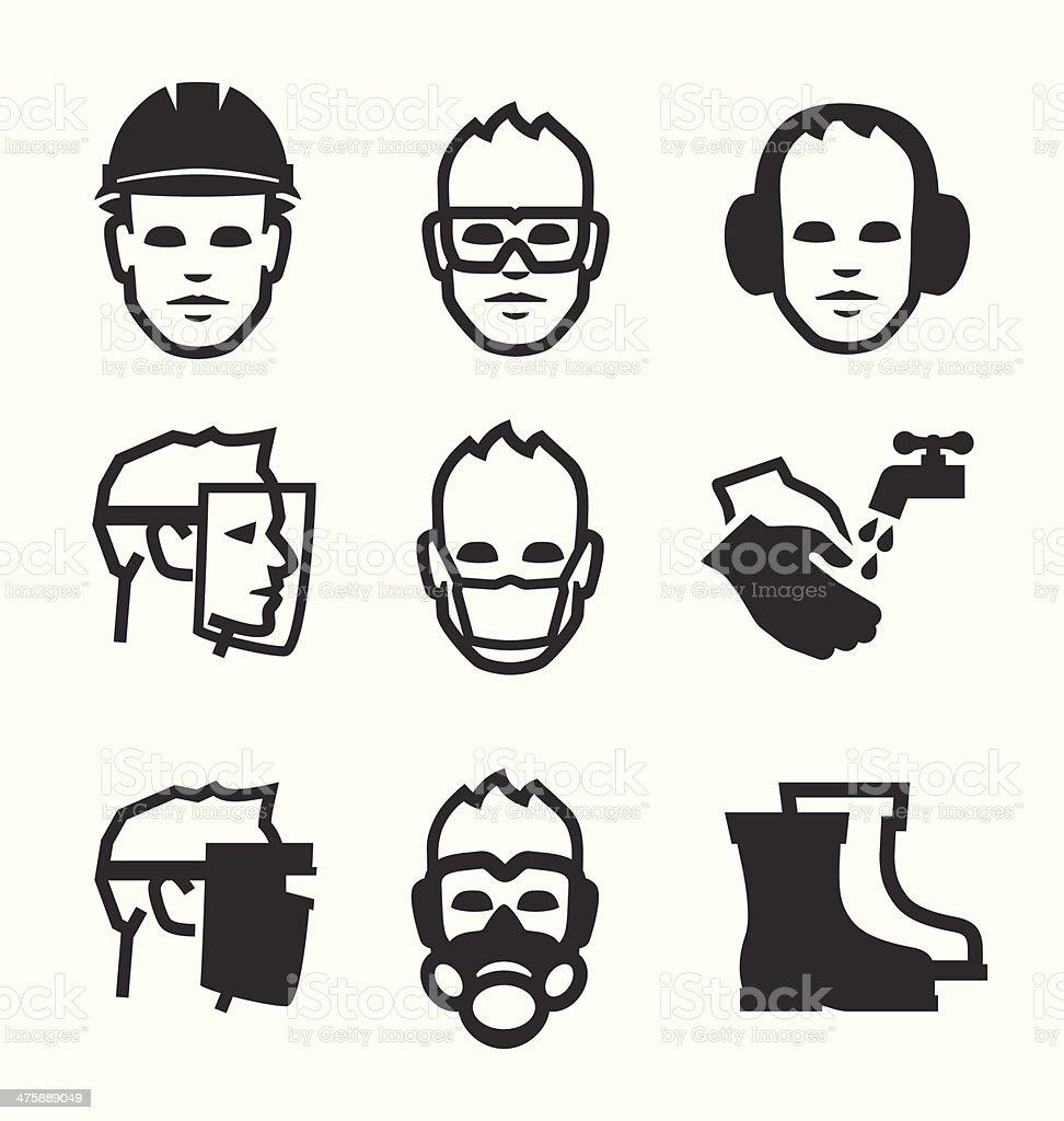 Job safety icons vector art illustration