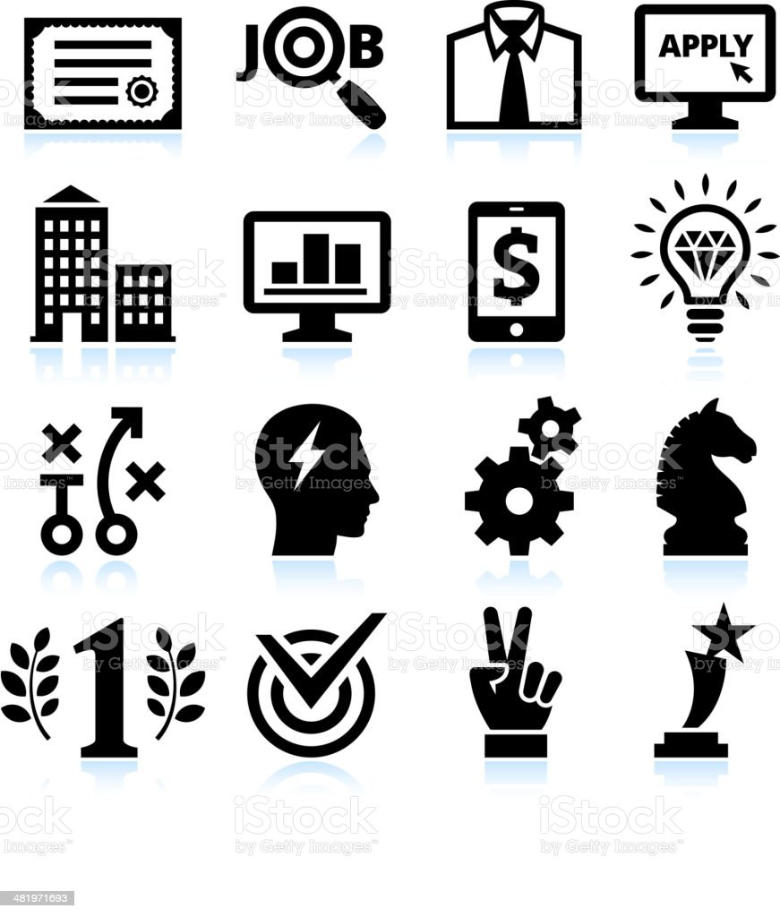 Job Search Application and Success black & white icon set vector art illustration