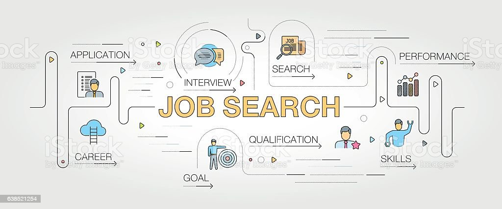 Job Search banner and icons vector art illustration