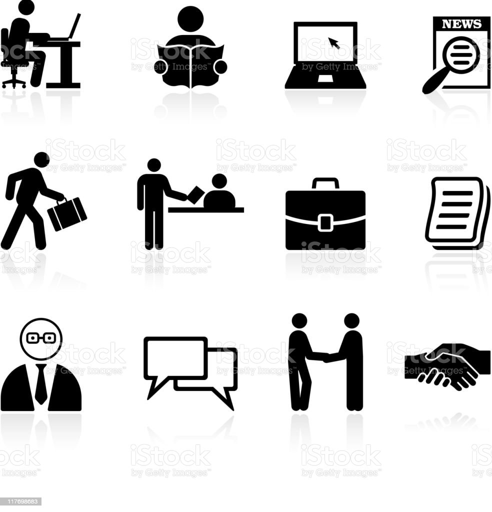 Job Search Black And White Royalty Free Vector Icon Set ...