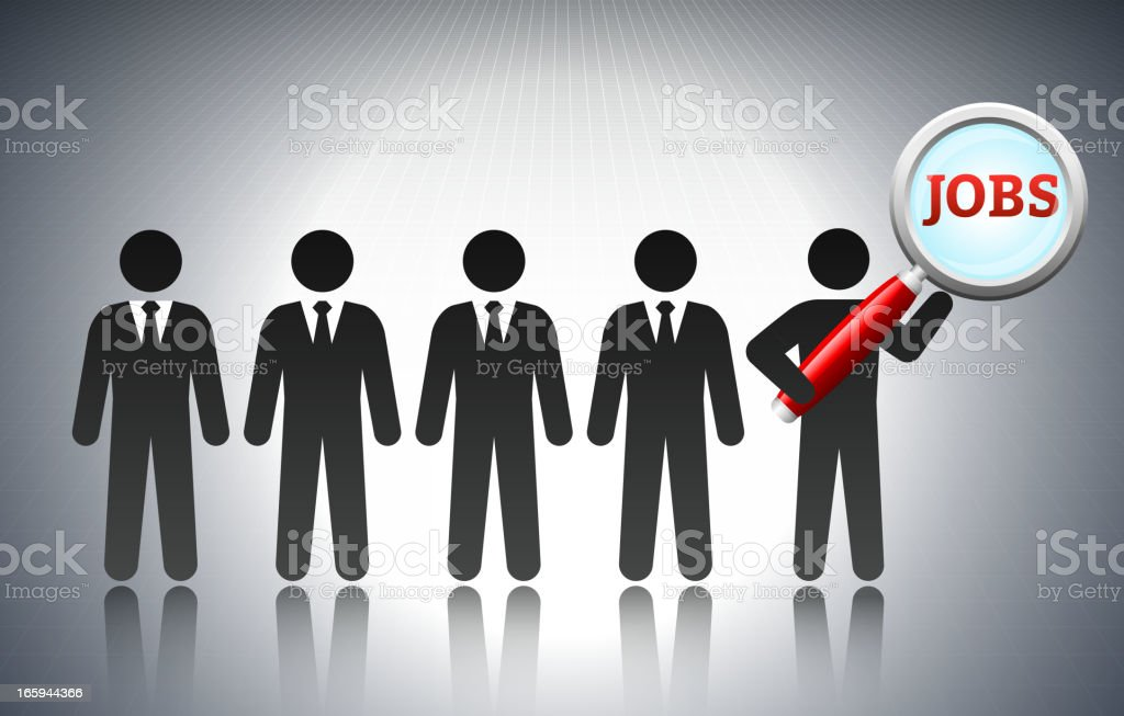 Job Search Concept with Stick Figures royalty-free stock vector art