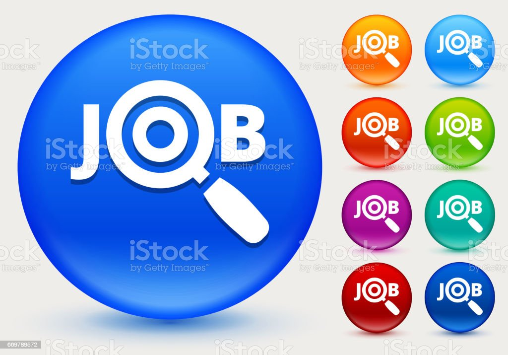 Job Search Icon on Shiny Color Circle Buttons vector art illustration