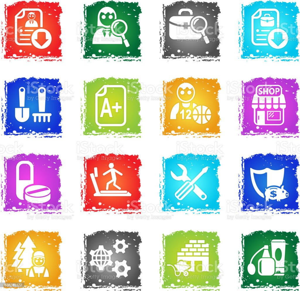 job search icon set stock vector art istock agriculture business finance and industry computer icon construction industry education job search
