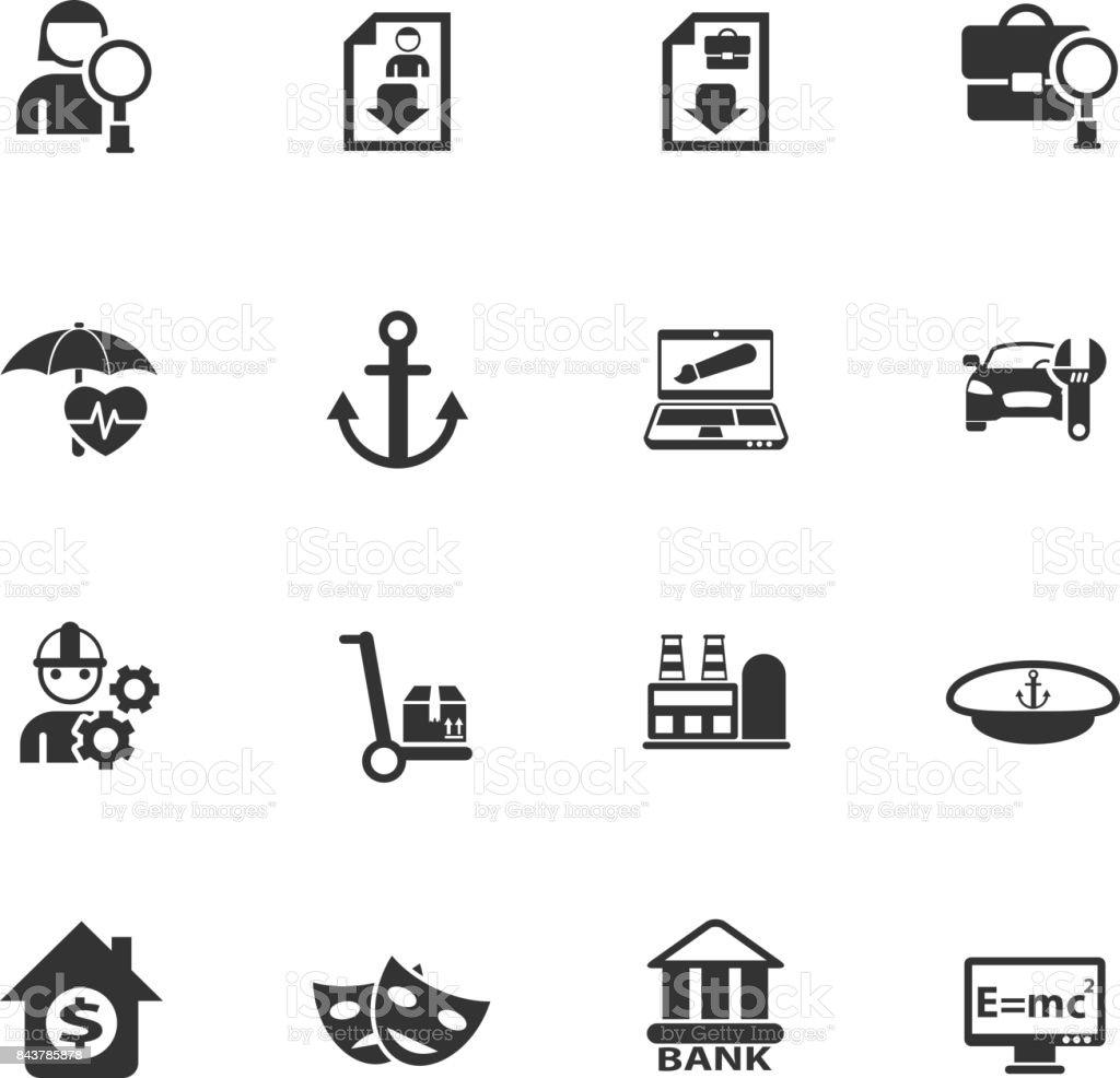 job search icon set vector art illustration