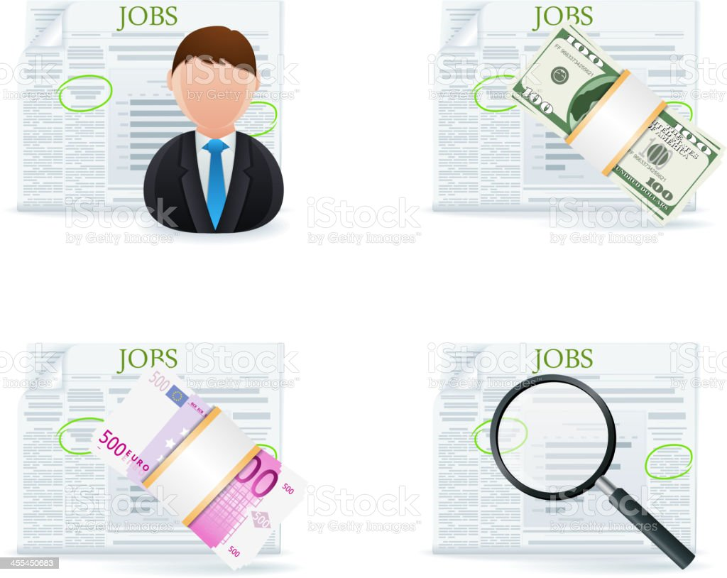 Job Search Icons royalty-free stock vector art