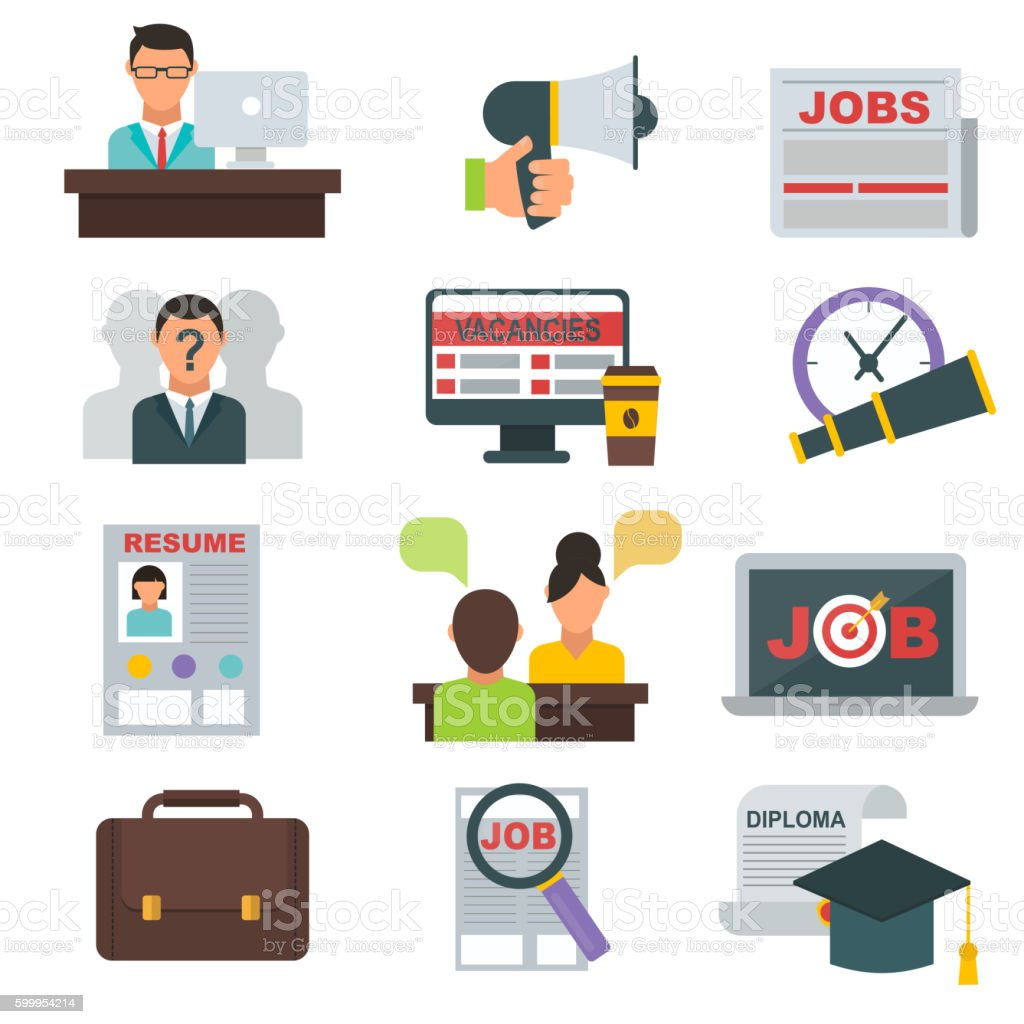 Job search icons vector set. vector art illustration
