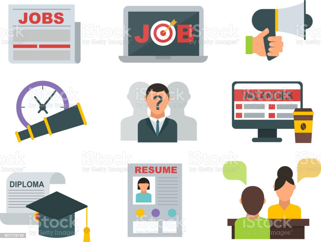 Job search icons vector set. vector art illustration