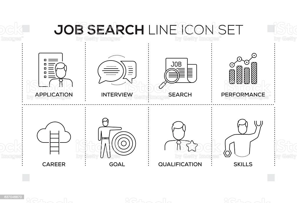 Job Search keywords with monochrome line icons vector art illustration