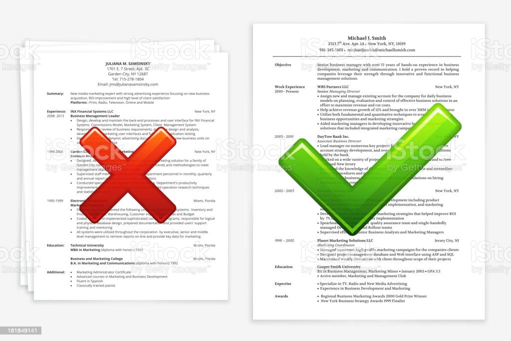 Job Search with Good and Bad Resume vector art illustration