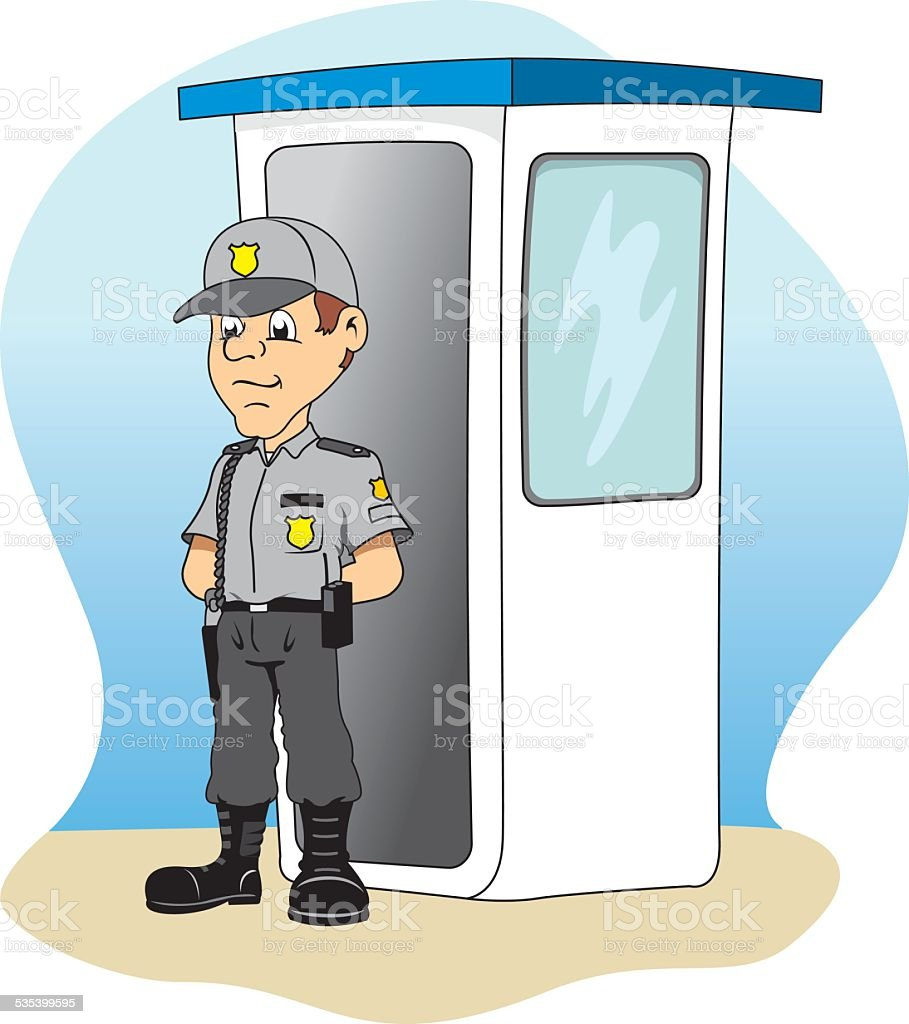 Job security in a guardhouse, standing guard vector art illustration