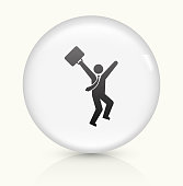 Job Success icon on white round vector button