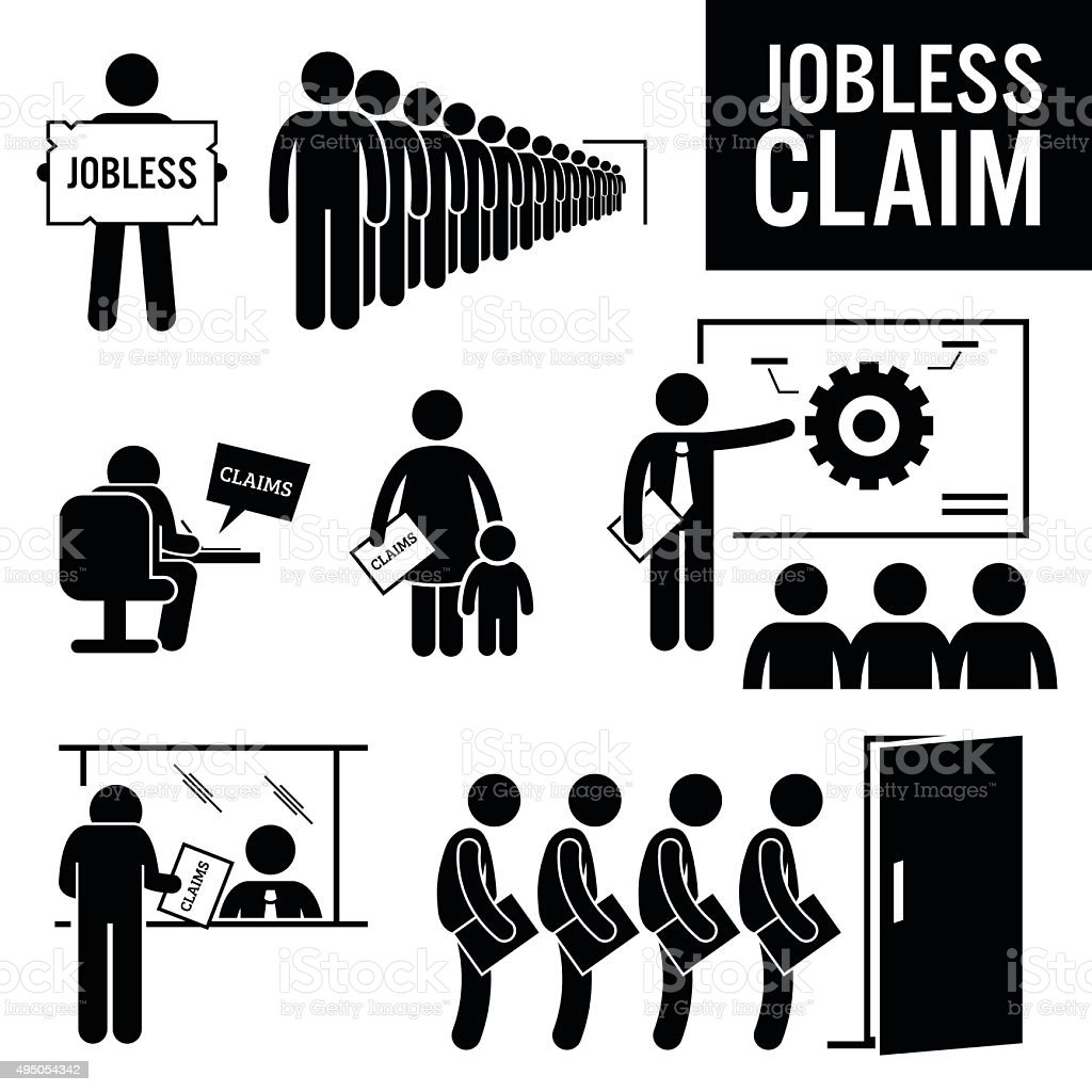 Jobless Claims Unemployment Benefits Stick Figure Pictogram Icons vector art illustration