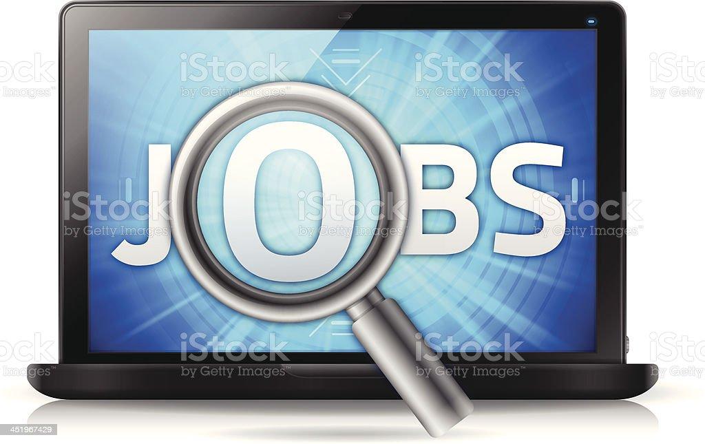 Jobs Search Laptop vector art illustration