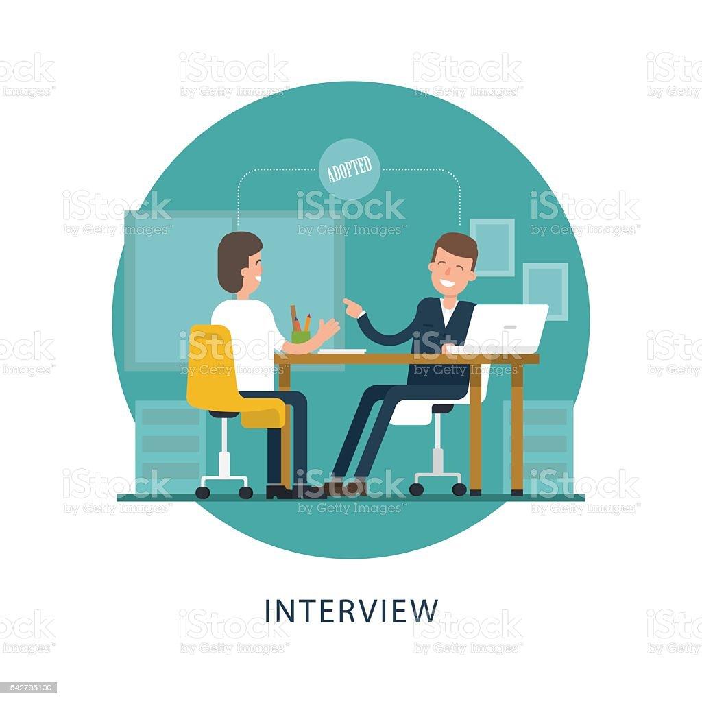 jobseeker and employer vector scene on white background stock jobseeker and employer vector scene on white background royalty stock vector art