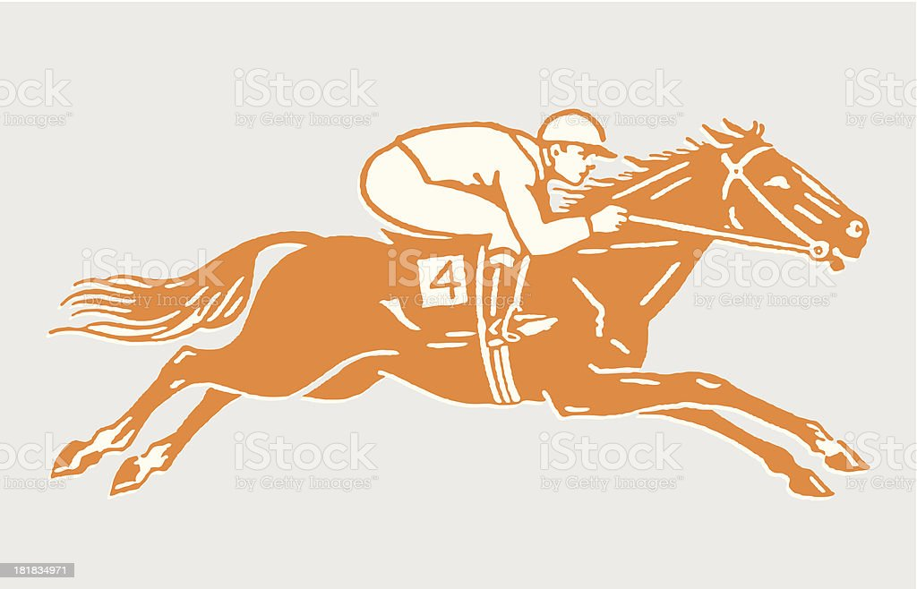 Jockey on Racehorse in Action vector art illustration