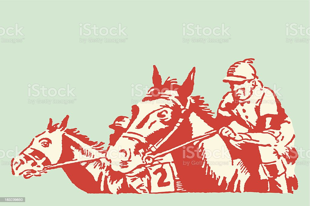 Jockeys and Horses in Race vector art illustration
