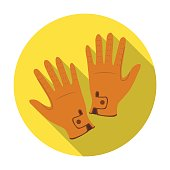 Jockey's gloves icon in flat style isolated on white background.