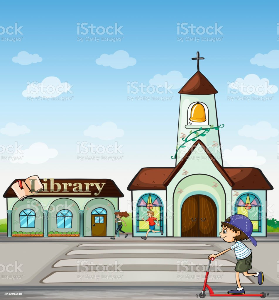 Joggers, kid on a scooter, church and library royalty-free stock vector art