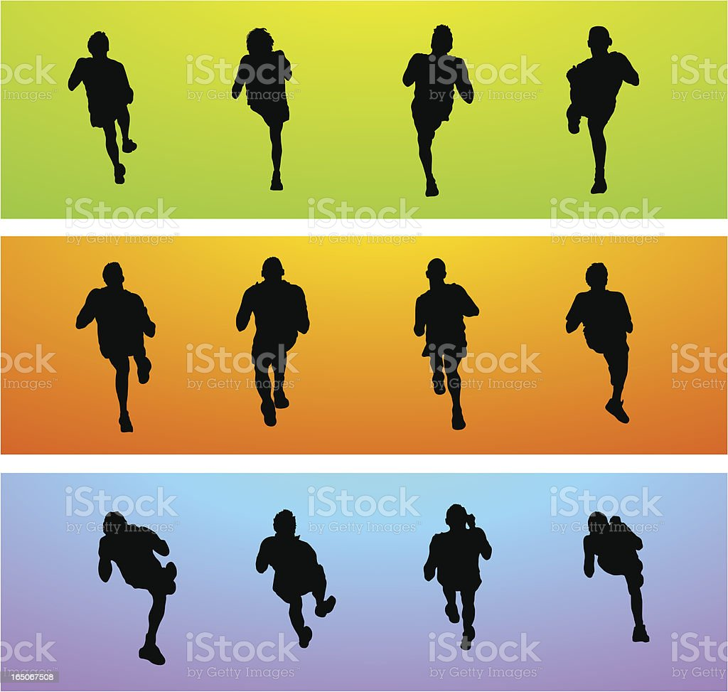 Joggers seen from above royalty-free stock vector art