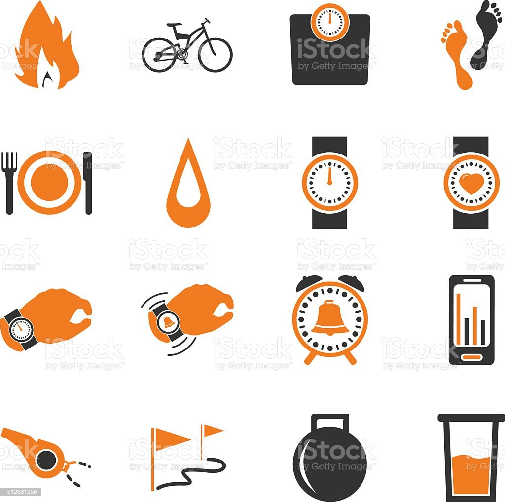 Jogging and workout icons set vector art illustration