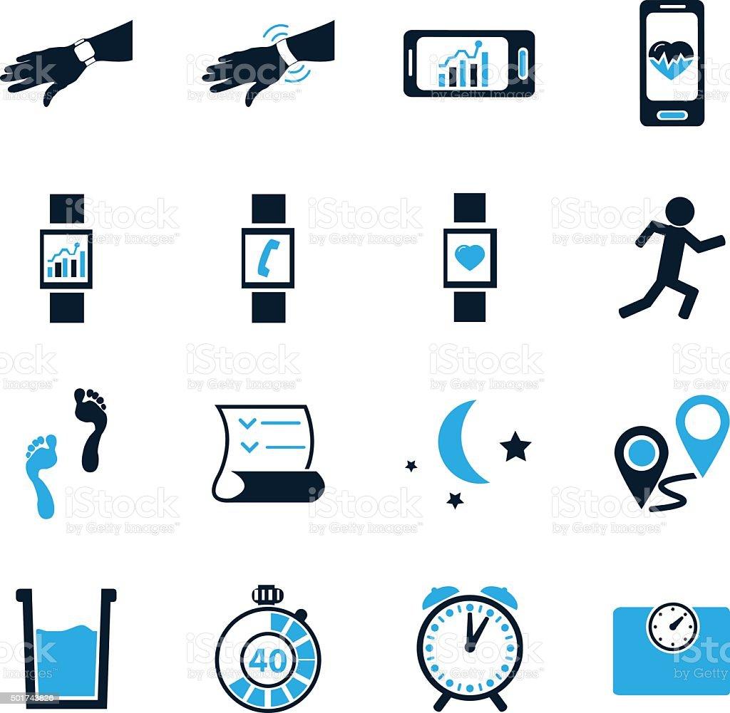 Jogging and workout modern monitoring apps vector art illustration