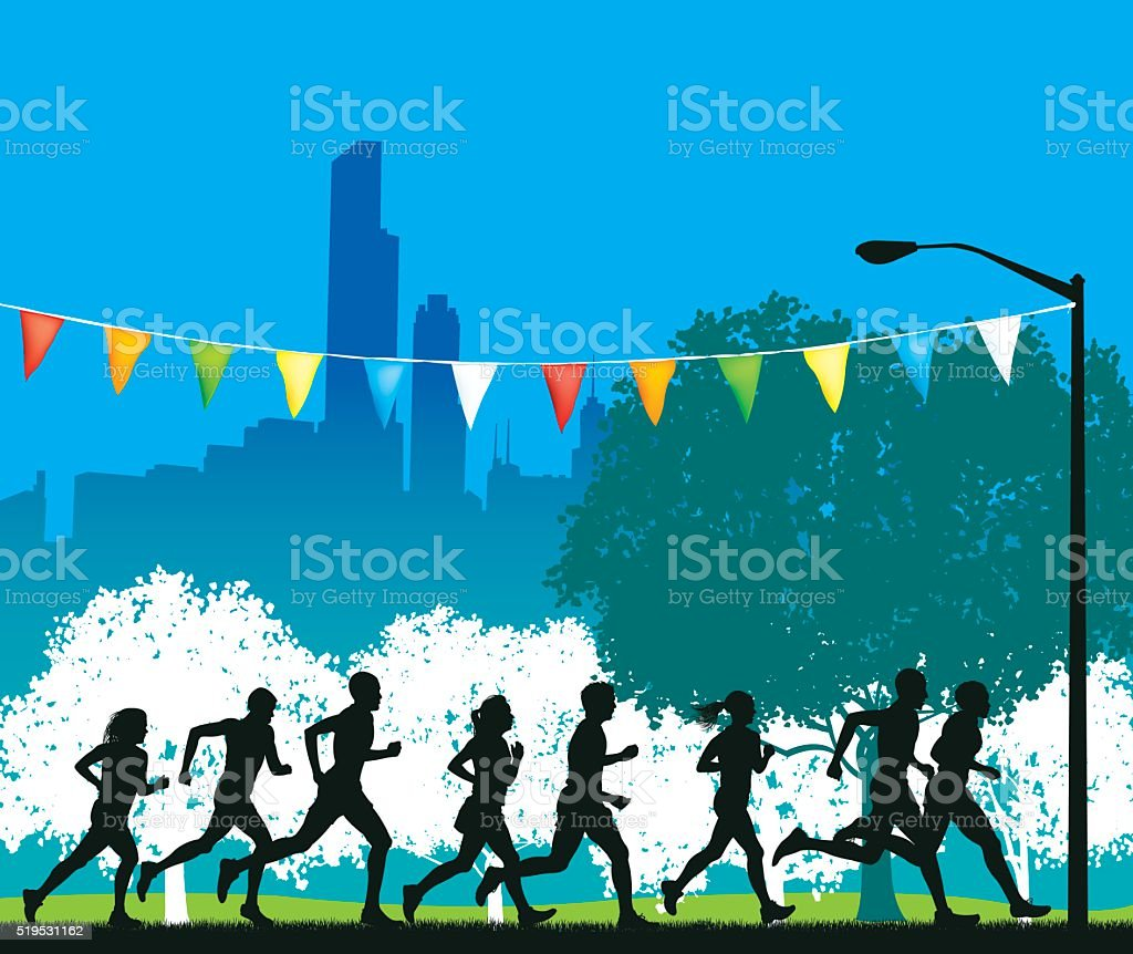 Jogging Club in City Background, Runners, Fitness, Orienteering vector art illustration