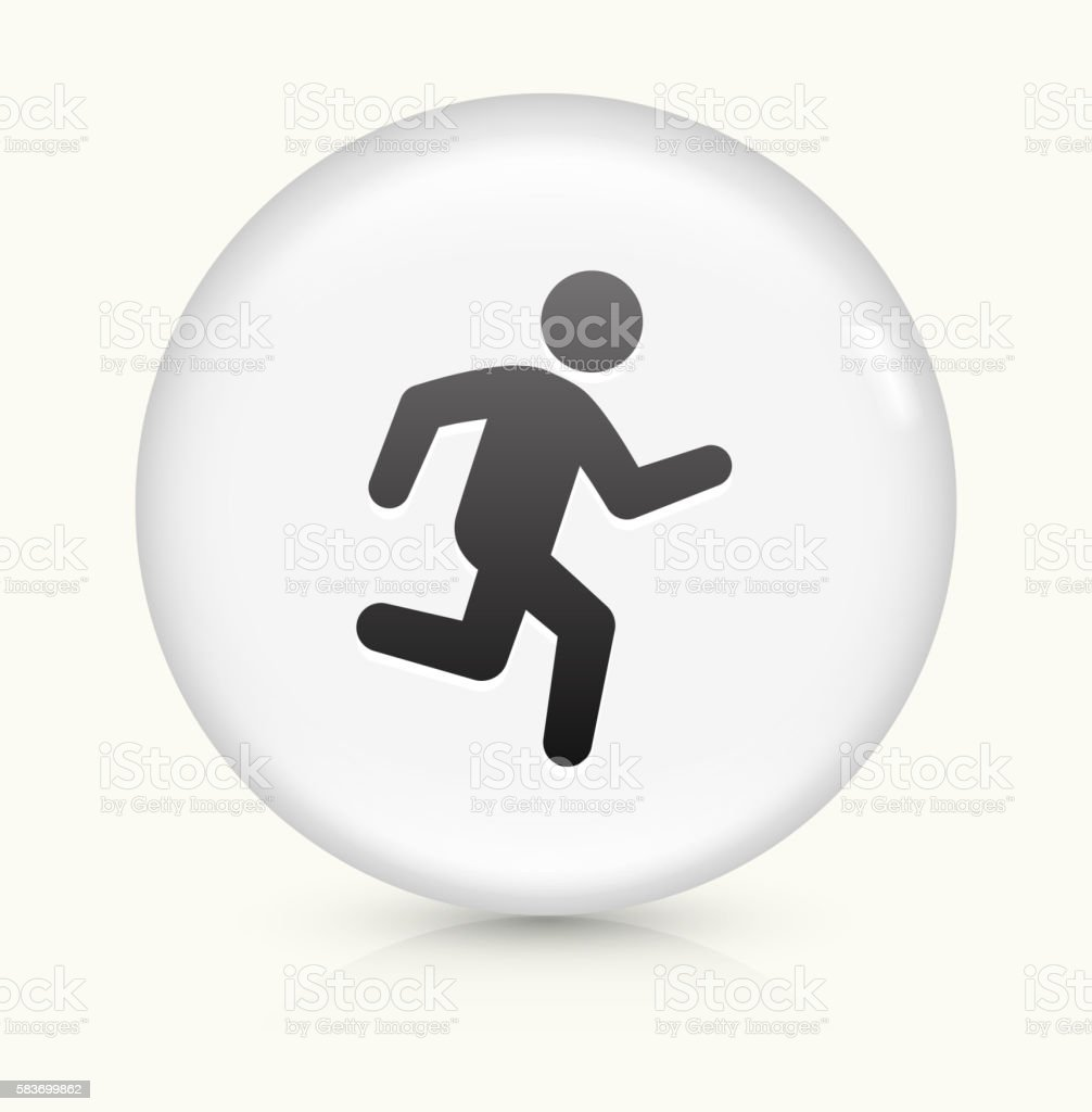 Jogging icon on white round vector button vector art illustration