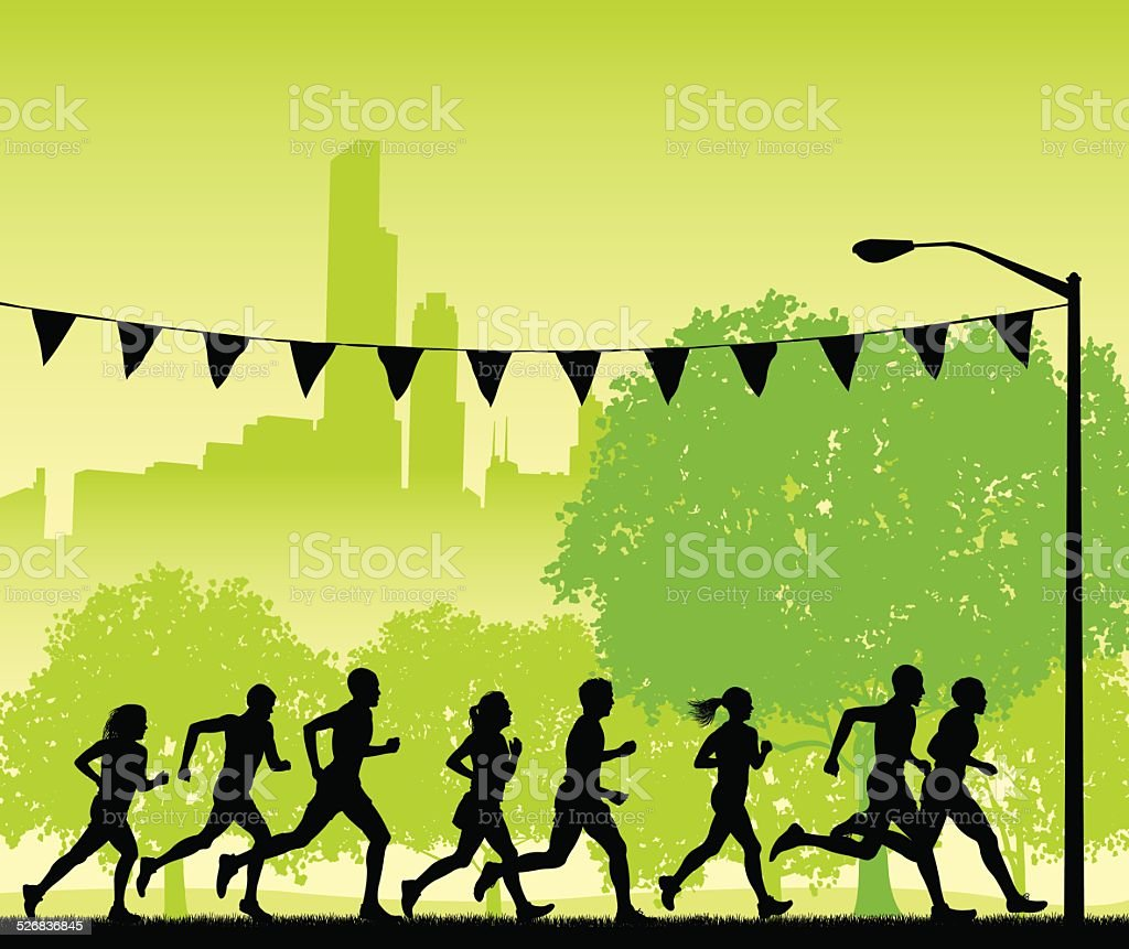 Jogging or Runners Club Background vector art illustration