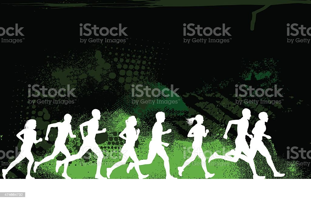 Jogging or Runners Club Grunge Background vector art illustration