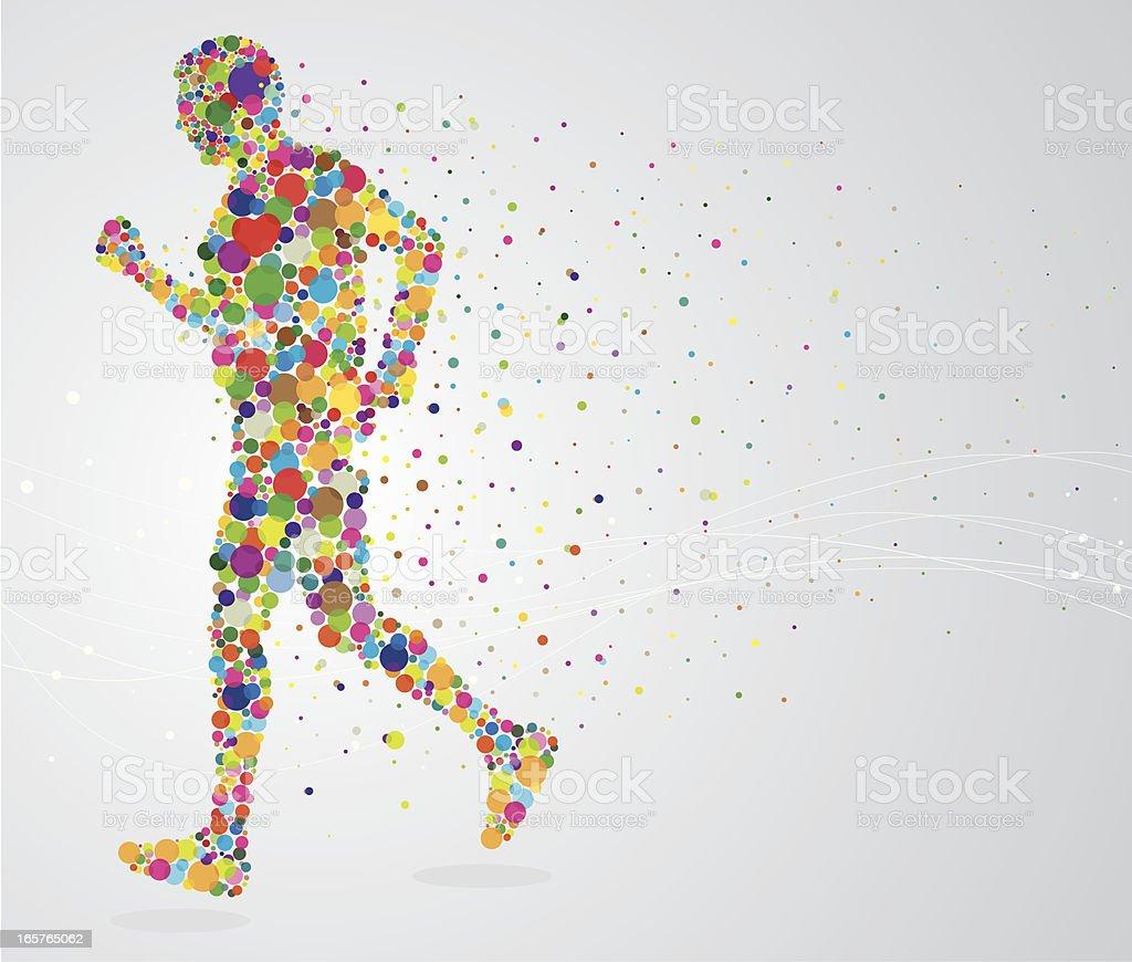 Jogging pixel man vector art illustration