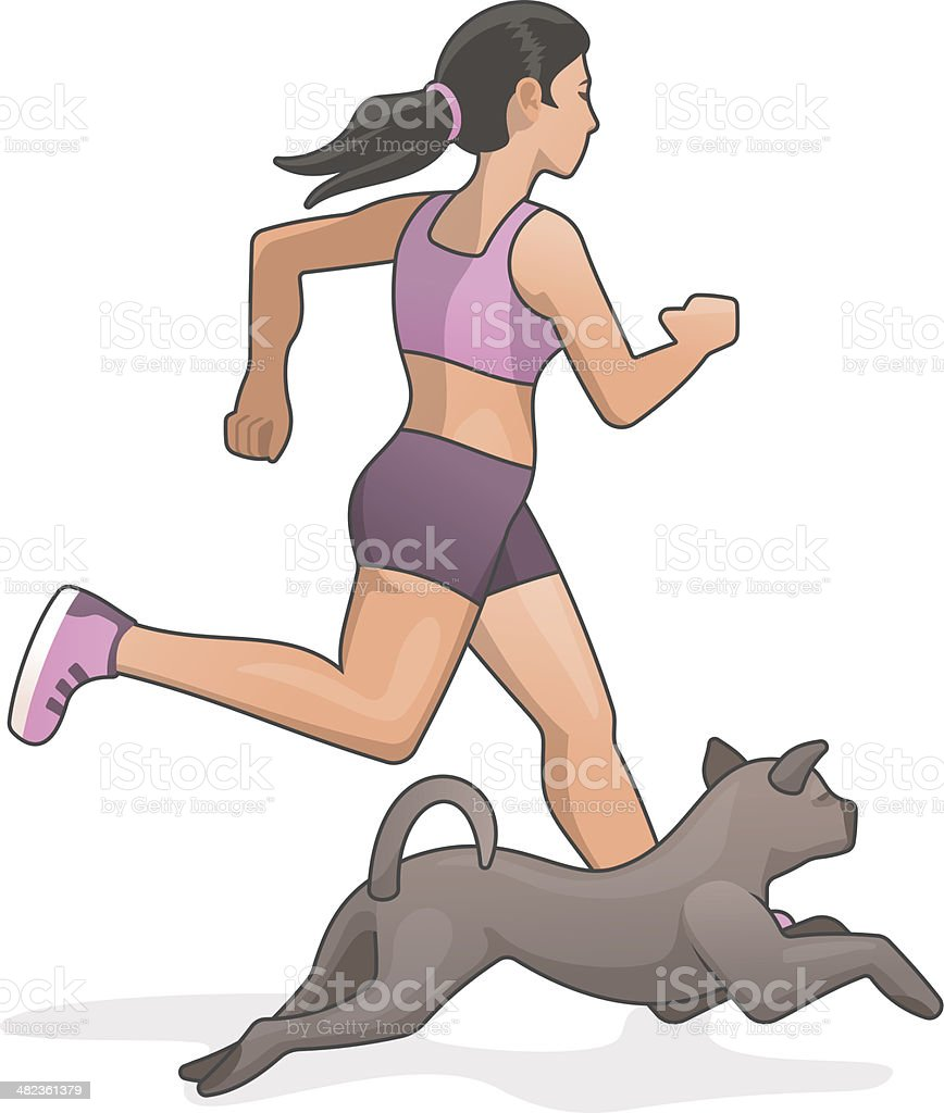Jogging with dog vector art illustration