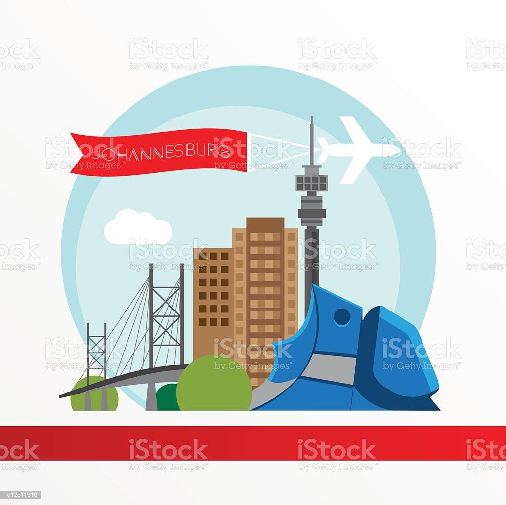 Johannesburg skyline, detailed silhouette. vector art illustration