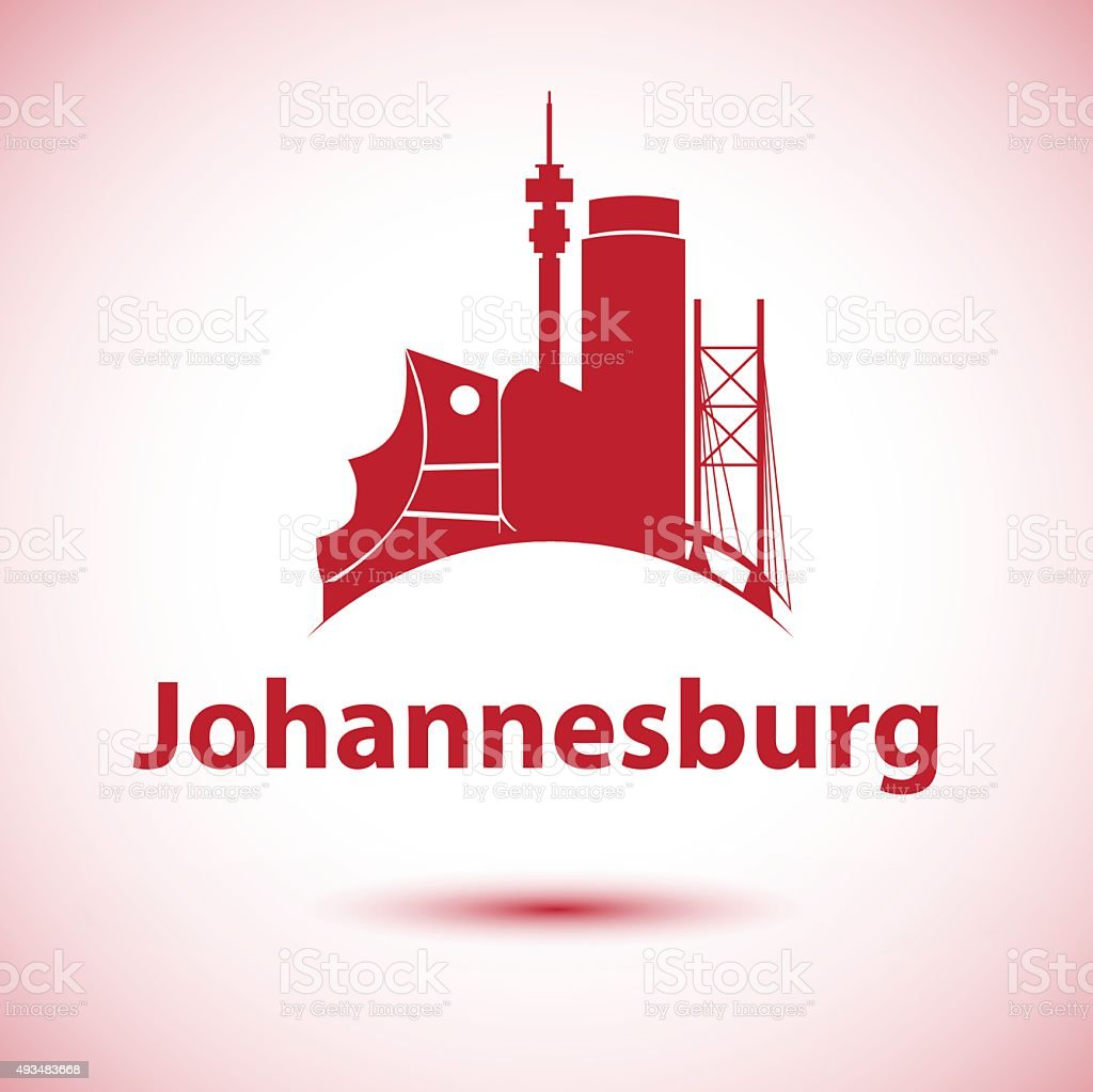 Johannesburg South Africa city skyline silhouette. vector art illustration