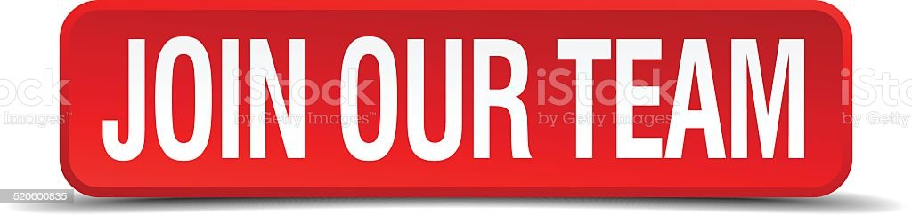 Join our team red 3d square button isolated on white vector art illustration