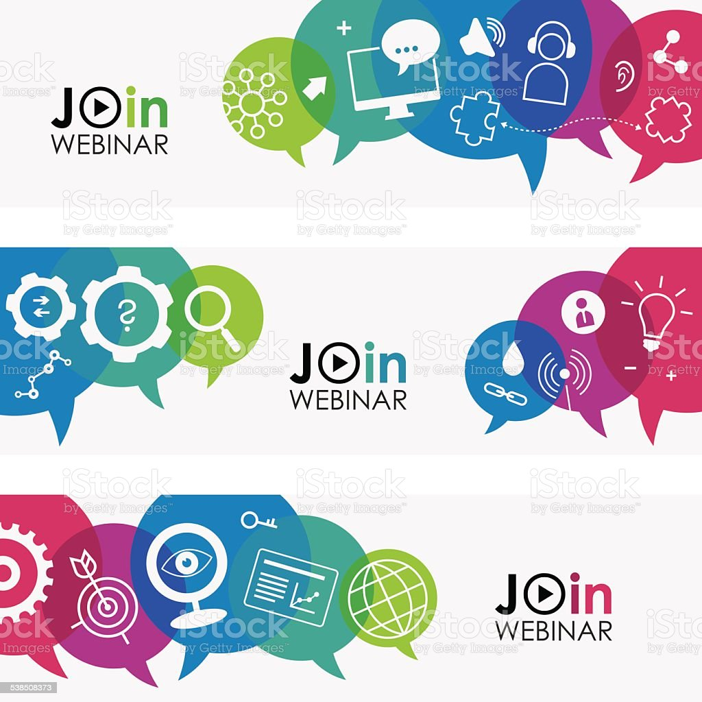 Join Webinar Banners vector art illustration