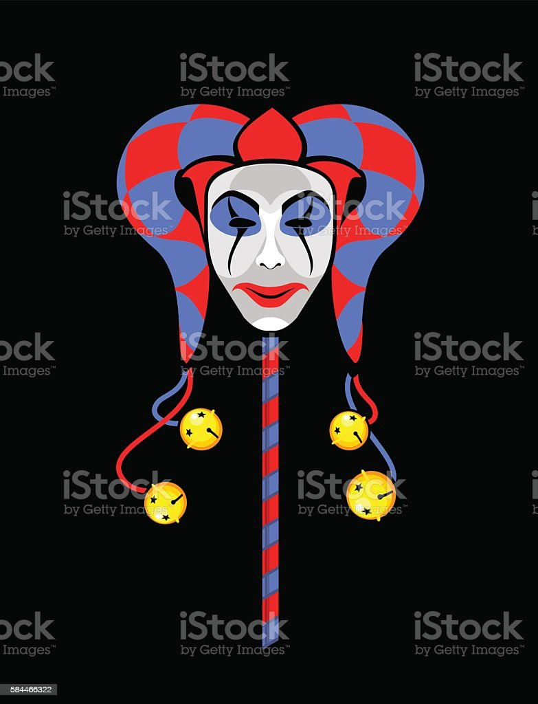 joker mask on a stick vector art illustration