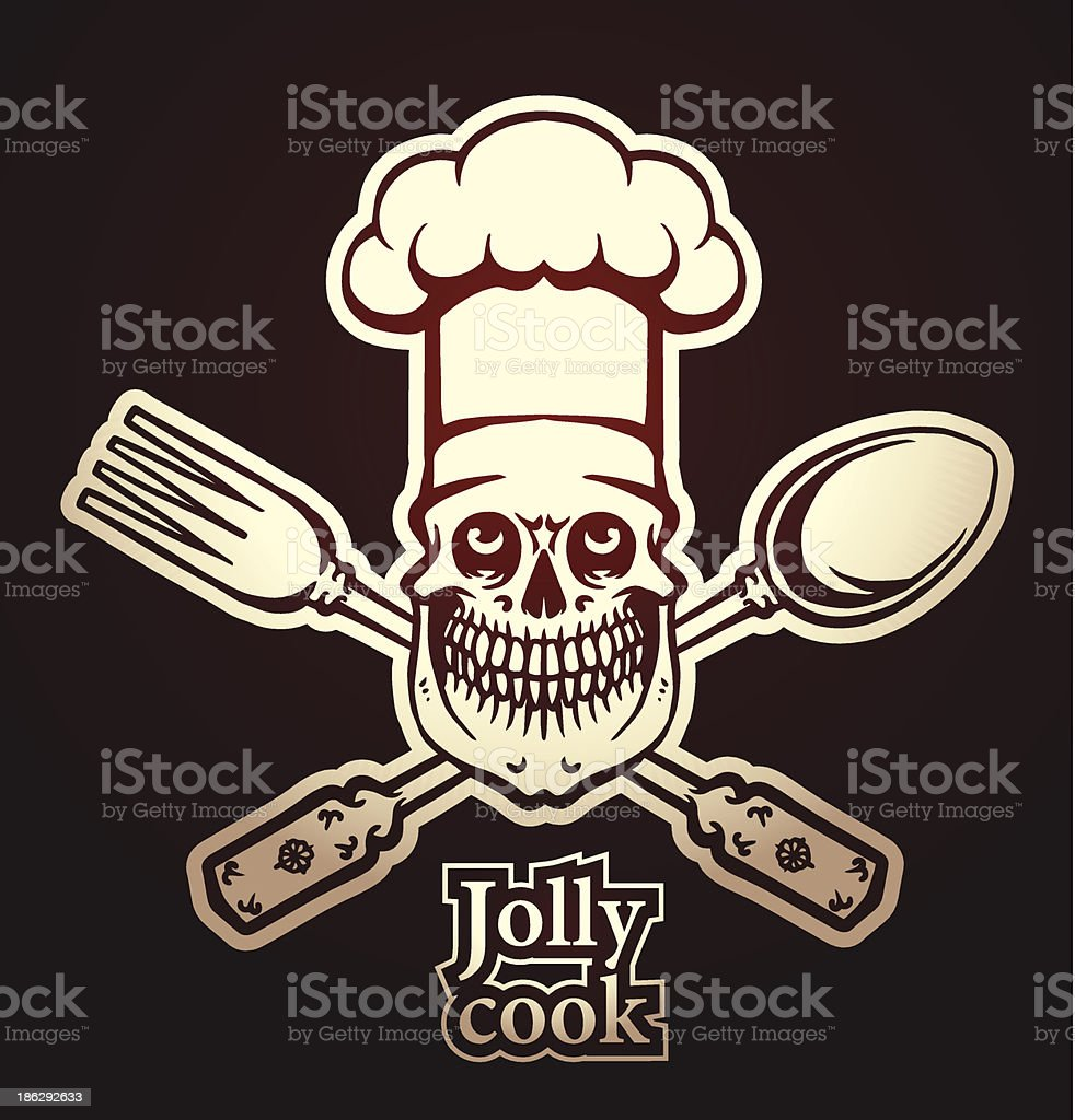 Jolly cook emblem, spoon and fork royalty-free stock vector art